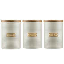 Typhoon Living Tea Coffee Sugar Canister Set 1.4L Oatmeal