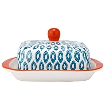 Ladelle Mosaic Painted Ikat Butter Dish
