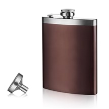 Ladelle Vacu Vin Hip Flask and Funnel S/Steel Brown/Silver