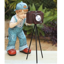 Boy Photographer Solar light Garden Lawn Decoration Statue