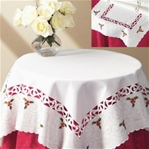 Holly Cutwork Embroidered Napery