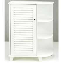 White Floor Cabinet with Side Shelves on Right