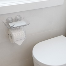 Suction Toilet Roll Holder Shelf