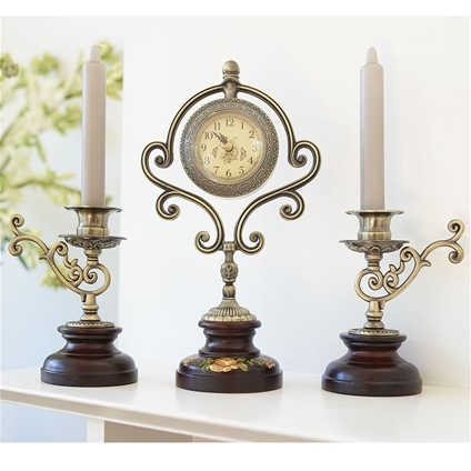 Clock & Candle Holder Set