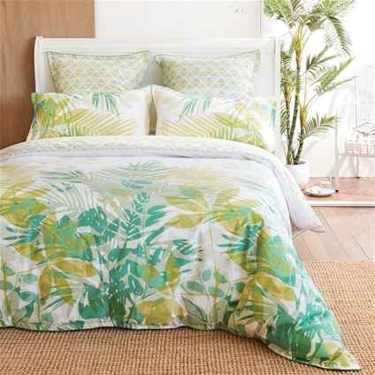 Lorne Green Palms Quilt Cover Set By Logan and Mason Platinum Collection
